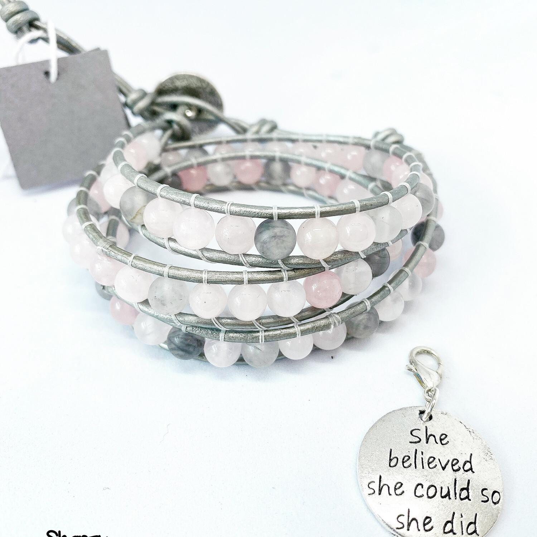 Rose Quartz, Quartz Wrap Bracelet