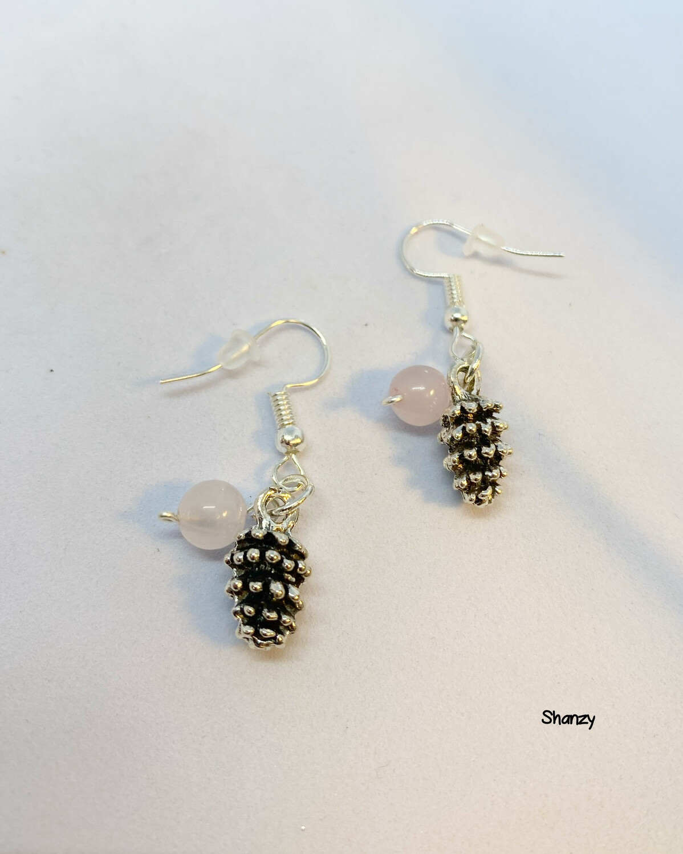 Lg Pine Cone Rose Quartz Earrings