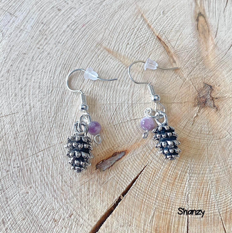 Amethyst Lg Pine Cone Earrings