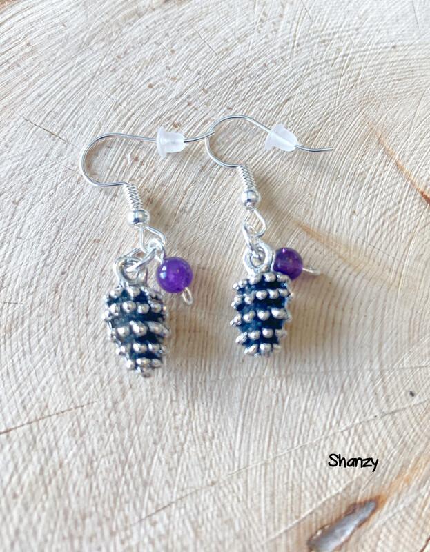Amethyst Light Lg Pine Cone Earrings