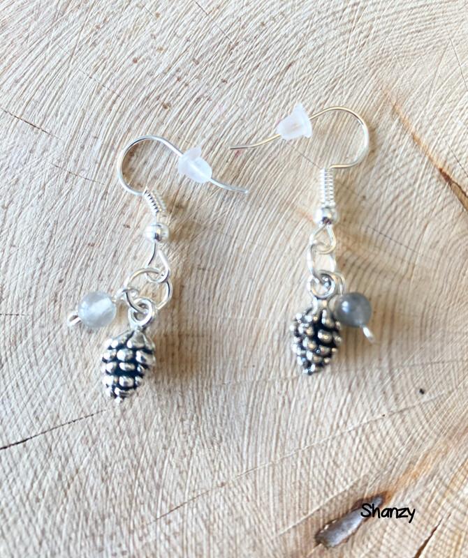 Quartz Sm Pine Cone Earrings