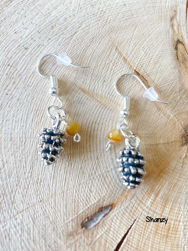 Jasper Lg Pine Cone Earrings