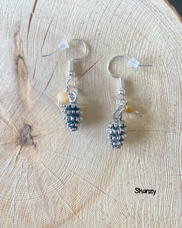 Amazonite Lg Pine Cone Earrings
