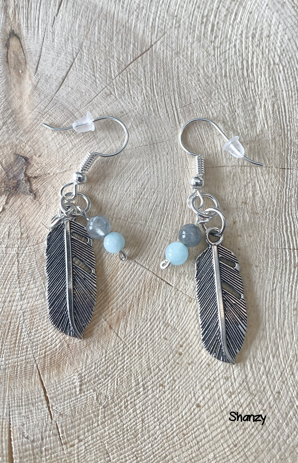 Quartz, Jade Feather Earrings