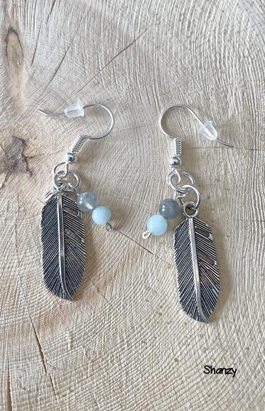 Quartz, Jade Feather Earrings