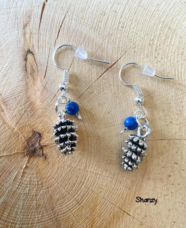 Lapis Lg Pine Cone Earrings