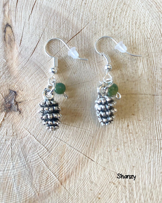 Moss Agate Lg Pine Cone Earrings
