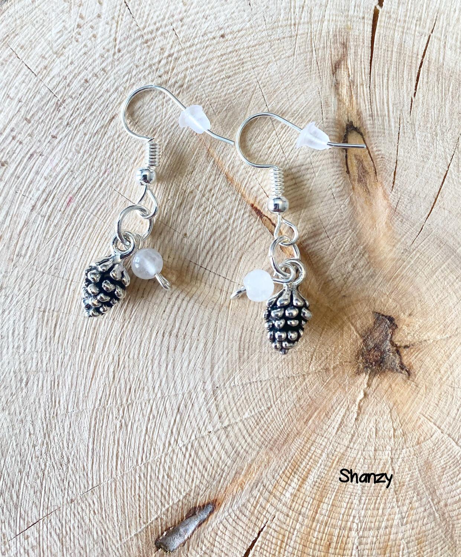 White Jade Sm Pine Cone Earrings