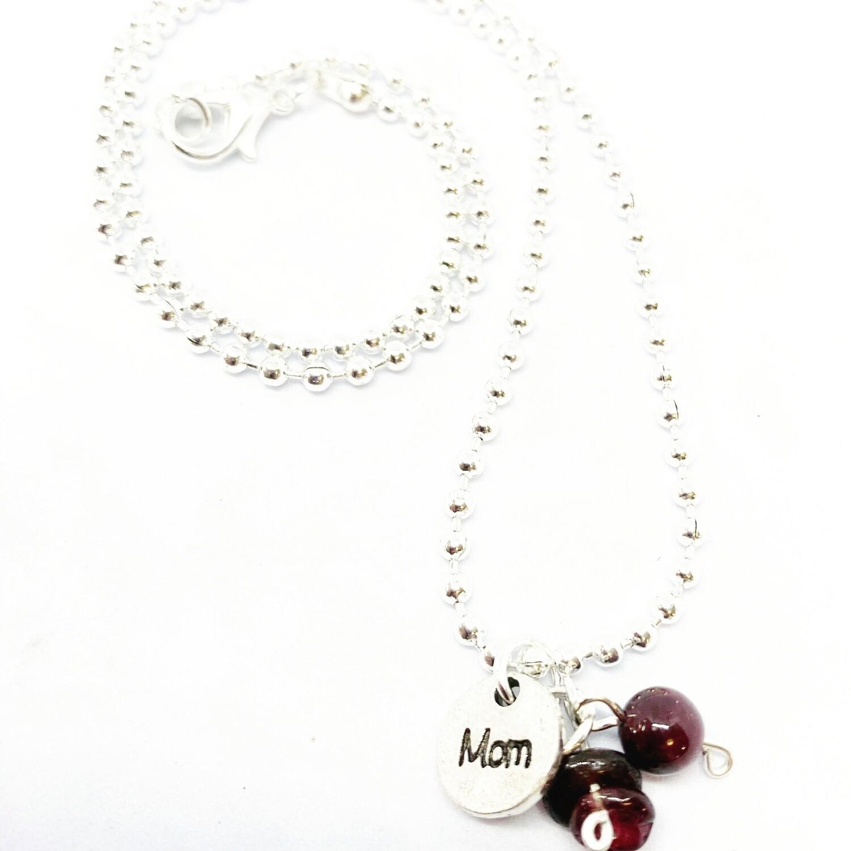 """Garnet Necklace 18"""" Ball"""