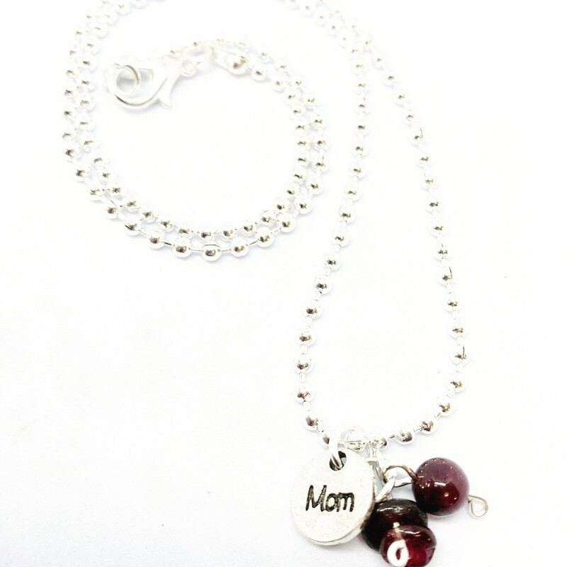 "Garnet Necklace 18"" Ball"