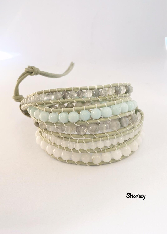 Amazonite, Quartz, Snow Jade Wrap Bracelet