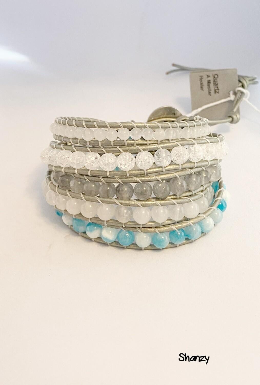Snow Jade, Quartz, Agate 5 Wrap Bracelet