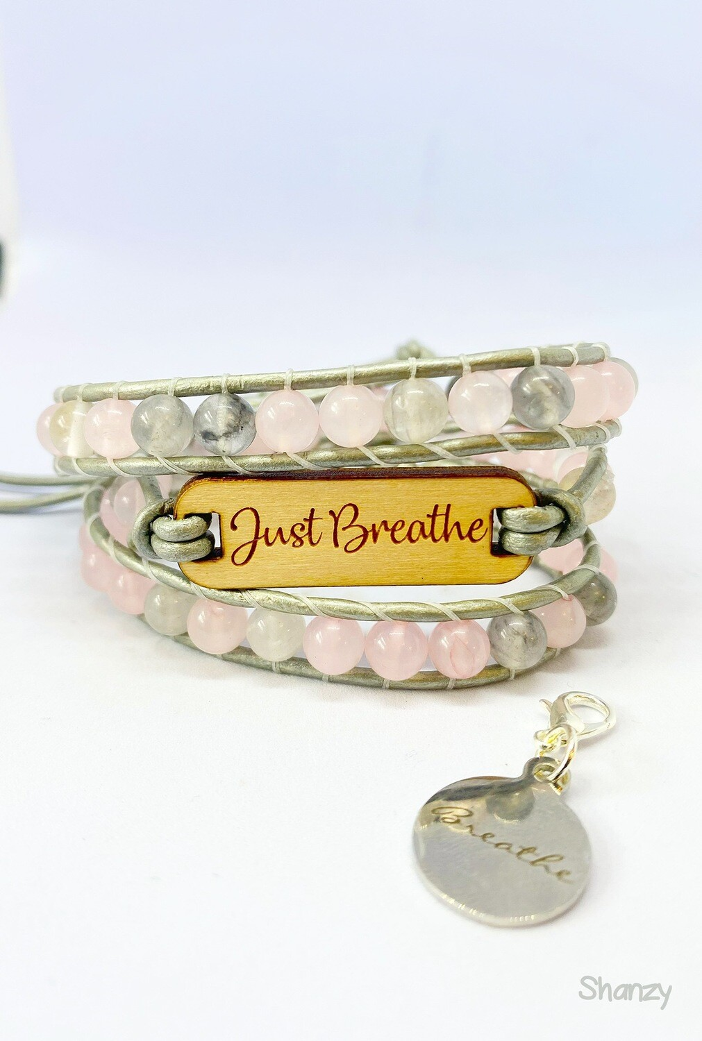 Just Breathe Rose & Grey Quartz Wrap Bracelet