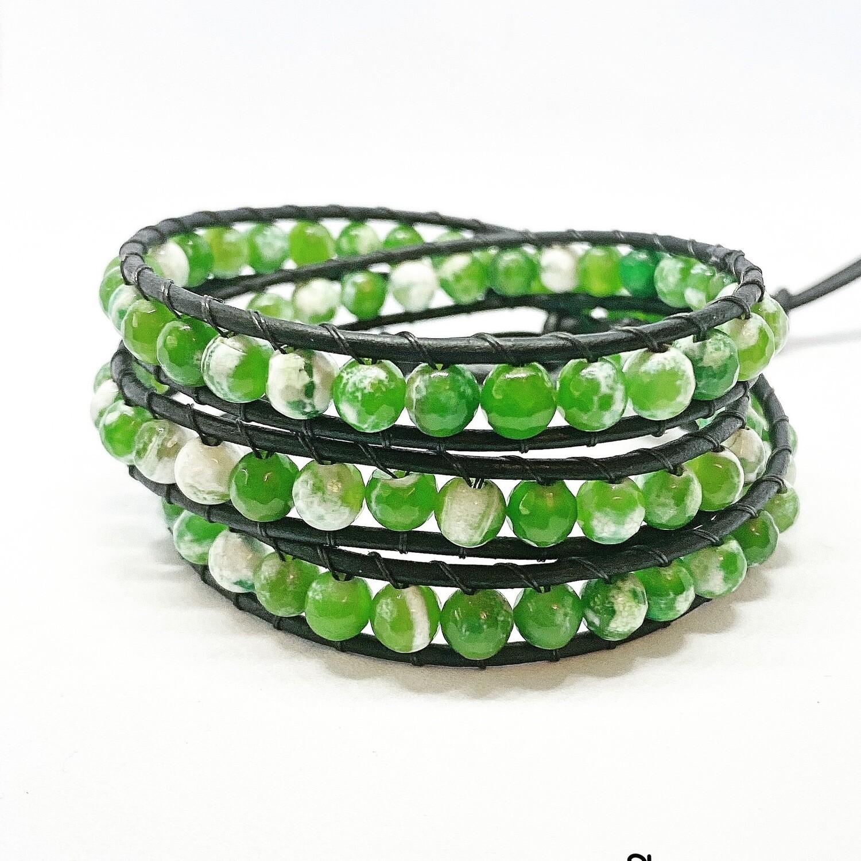 Green Agate Wrap Bracelet