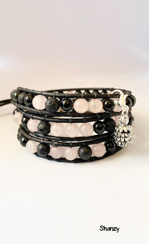 Rose Quartz, Black Obsidian & Lava Wrap Bracelet