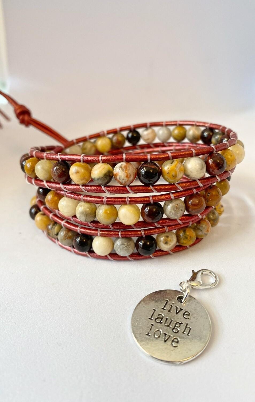 Tigers Eye, Crazy Lace Agate Wrap Bracelet