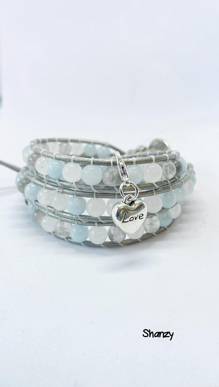 Jade, Snow Jade & Quartz Wrap Bracelet With Love Charms