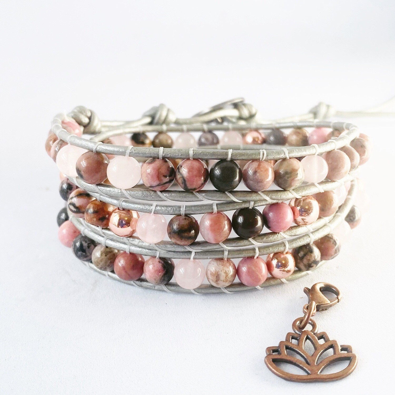 Rose Quartz, Rose Gold Hematite Wrap Bracelet