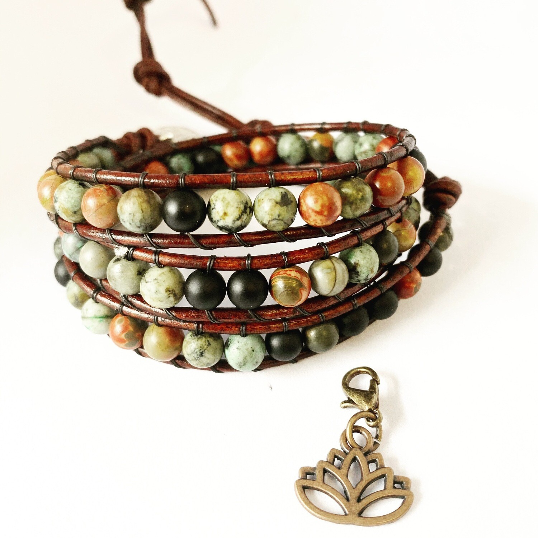 Blood Stone, Black Obsidian, African Turquoise Wrap Bracelet