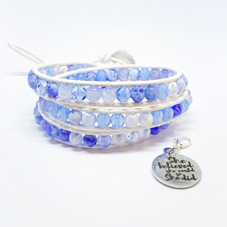 Blue Agate Wrap Bracelet