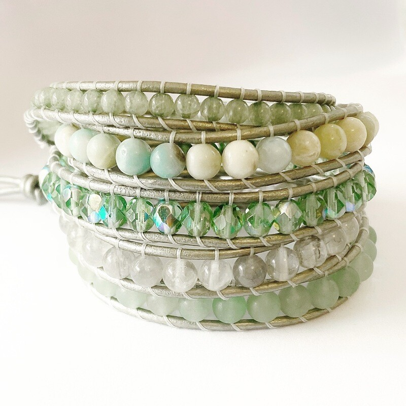 Quartz, Amazonite Wrap Bracelet 5 Wrap