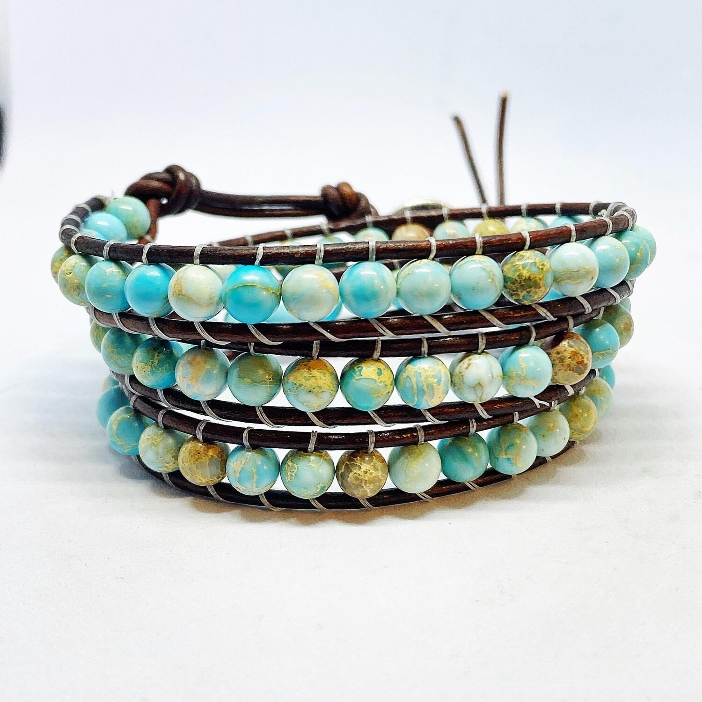 Sea Sediment Light Aqua Wrap Bracelet