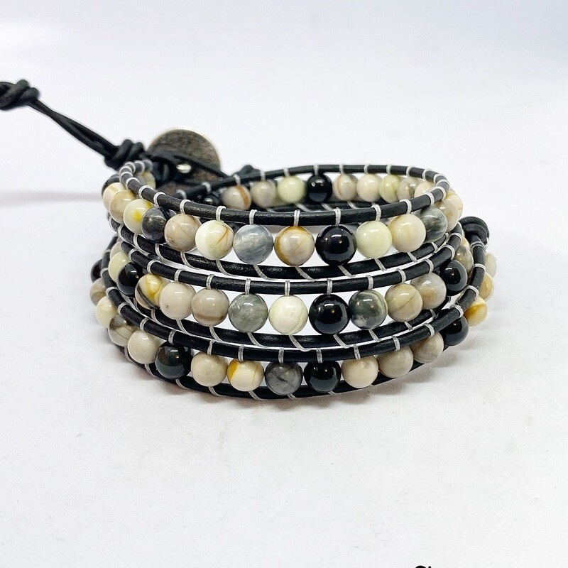 Silver Leaf Jasper 🍂 Wrap Bracelet