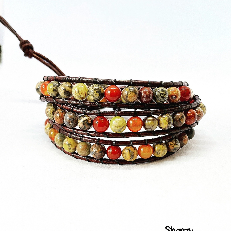 Leopardskin Carnelian Wrap Bracelet