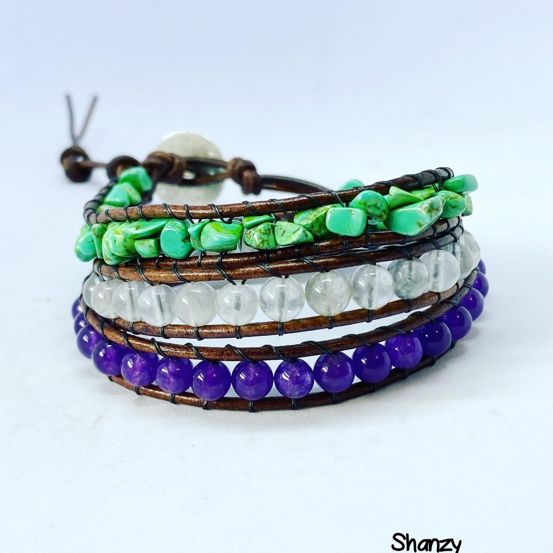 Magnesite, Quartz, Amethyst Wrap Bracelet