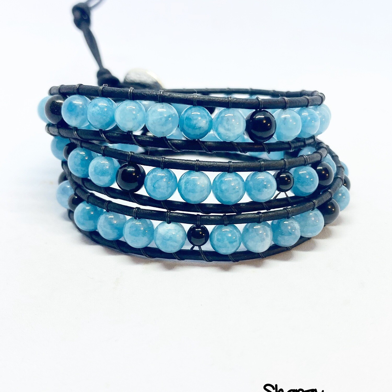 Blue Jade, Black Obsidian Wrap Bracelet