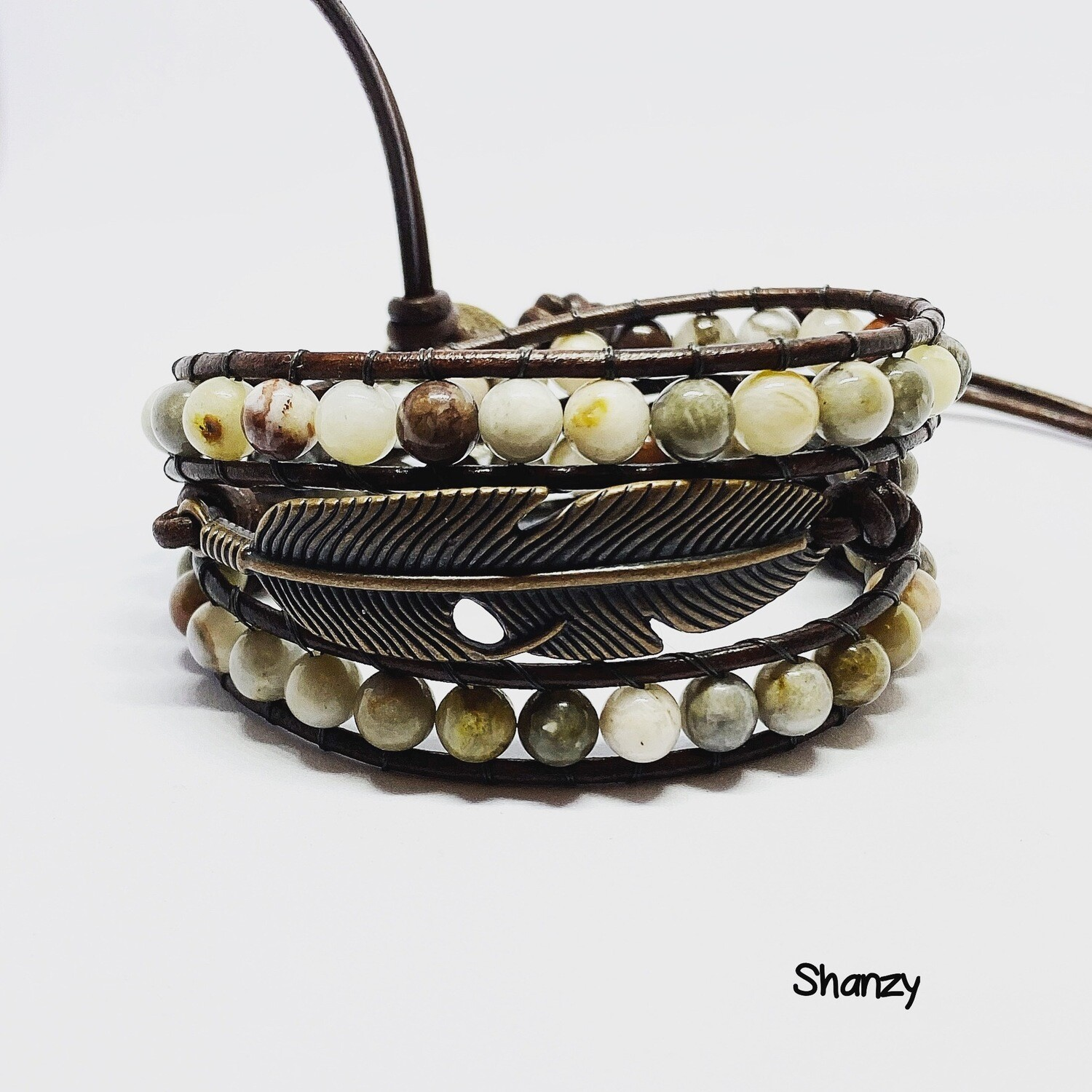Bamboo Agate Feather Wrap Bracelet