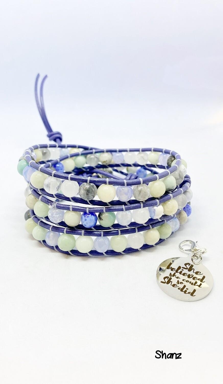 Agate Amazonite Wrap Bracelet