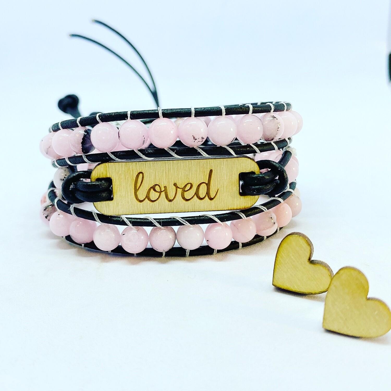 Pink Jasper Loved Wrap Bracelet With Heart Earrings