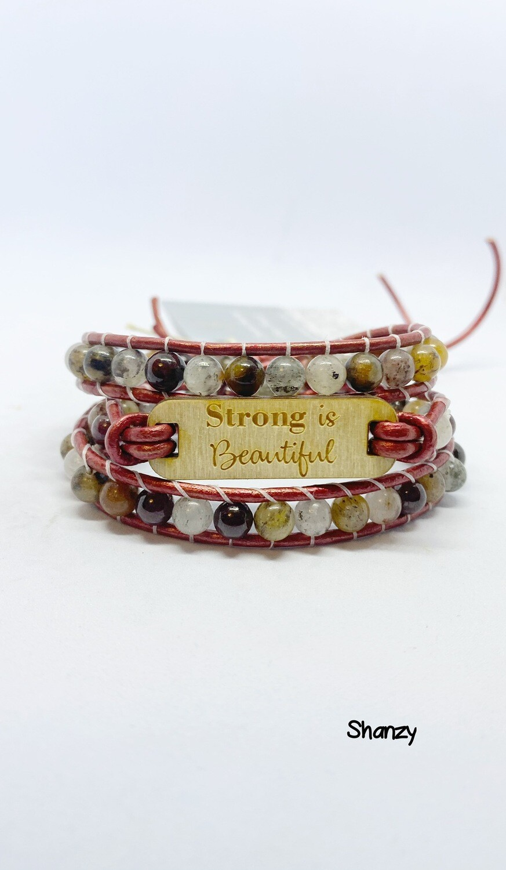 Strong Is beautiful Tigers Eye, Agate Wrap Bracelet