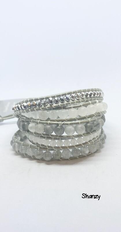 Quartz Snow Jade Wrap Bracelet( 5 Wrap)