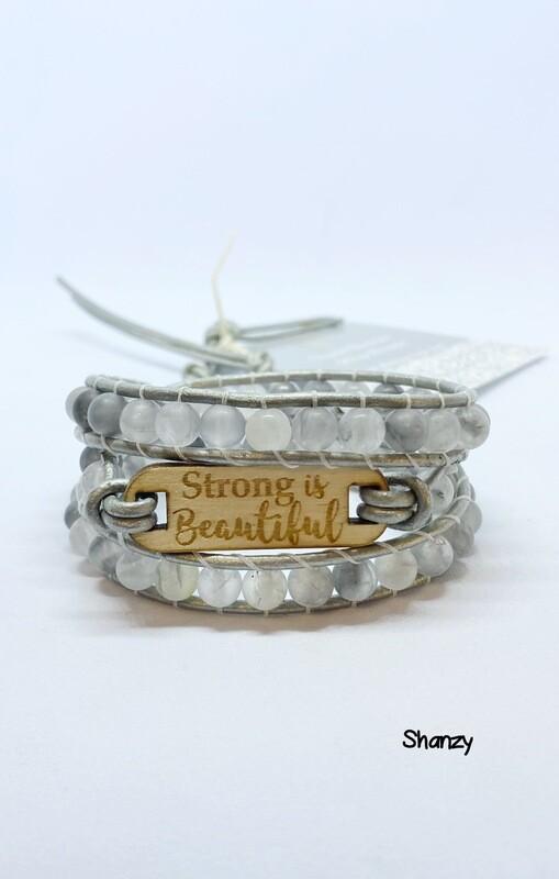 Strong Is Beautiful Quartz Wrap Bracelet