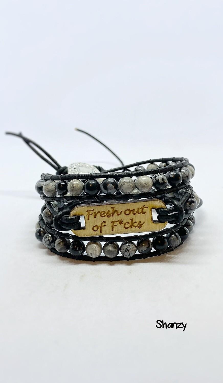 Fresh Out Of F*cks Snowflake Obsidian, Jasper Wrap Bracelet