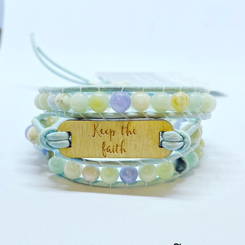 Amazonite, Sodalite Keep The Faith Wrap Bracelet