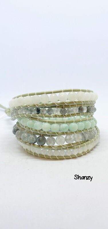 Amazonite, Snow Jade, Quartz Wrap Bracelet (5 Wrap)
