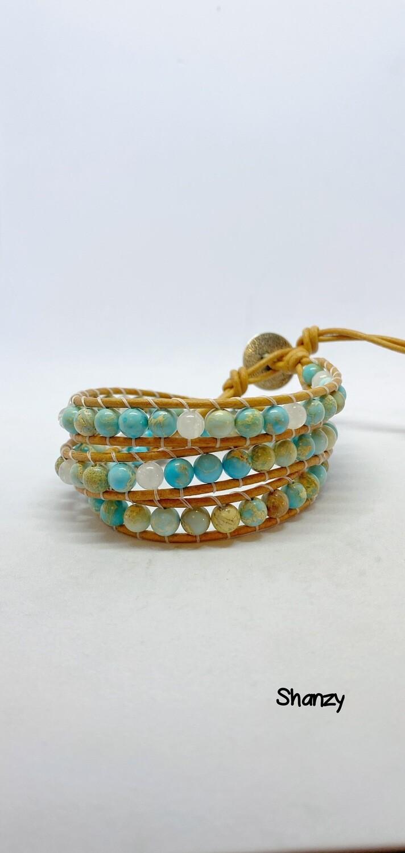 Sea Sediment & Jade Wrap Bracelet