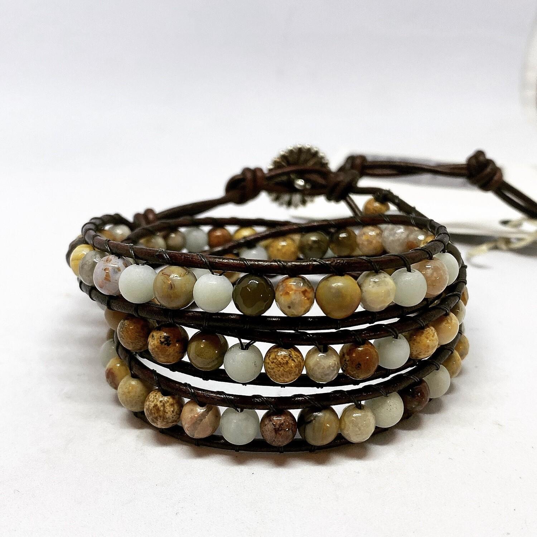 Amazonite, Picture Jasper, Crazy Lace Agate Wrap Bracelet