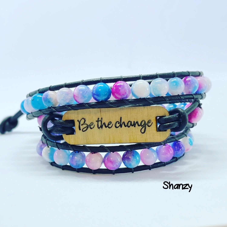 Be the Change Agate Wrap Bracelet