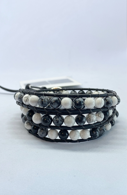 Howlite, Black Obsidian Wrap Bracelet