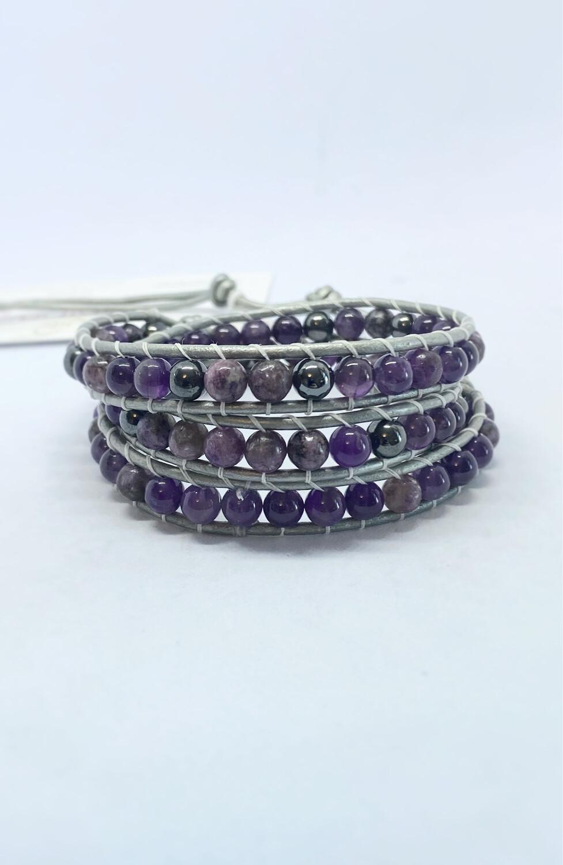 Amethyst, Hematite Wrap Bracelet
