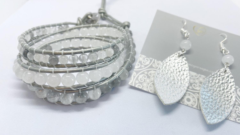 Quartz, Jade Wrap Bracelet with Leather Jade Earrings Set