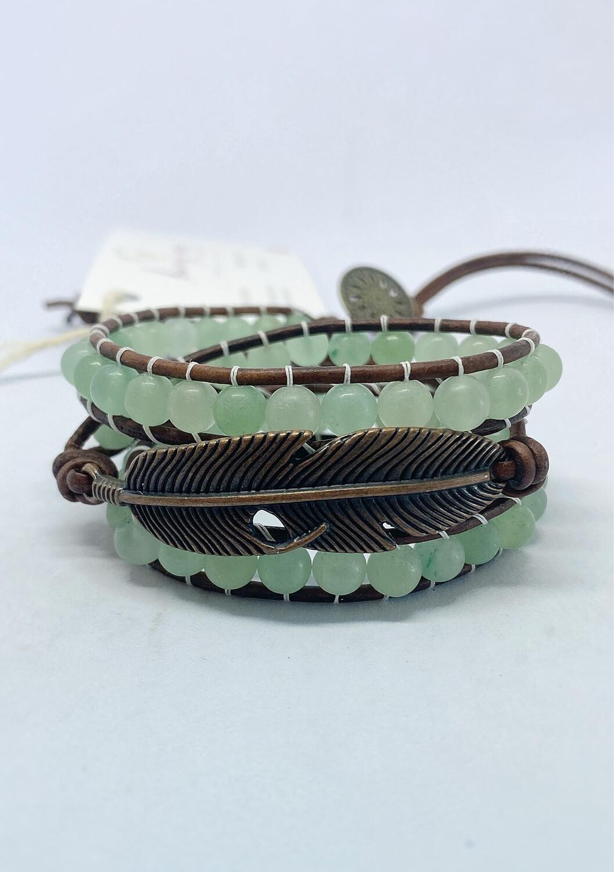 Aventurine Feather Wrap Bracelet