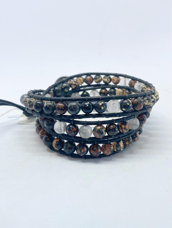 Snowflake Obsidian, Quartz Wrap Bracelet