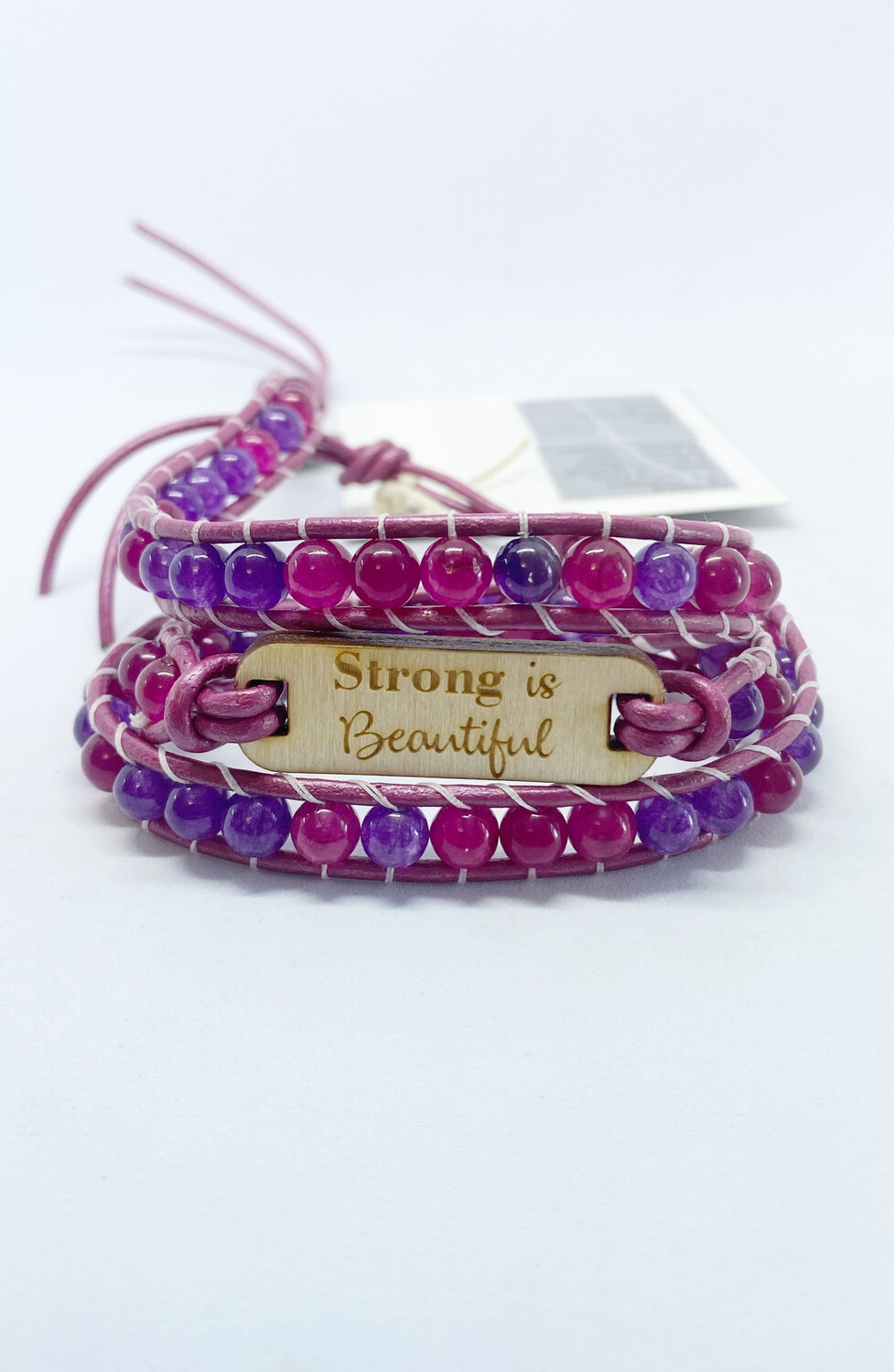 Strong Is Beautiful Amethyst & Jade Wrap Bracelet