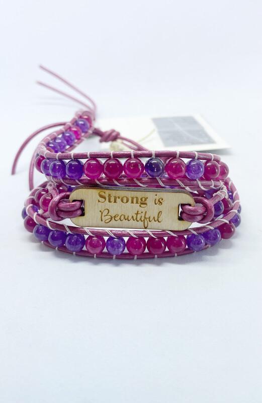 Strong Is Beautiful Amethyst & Jade Wrap Bracelet