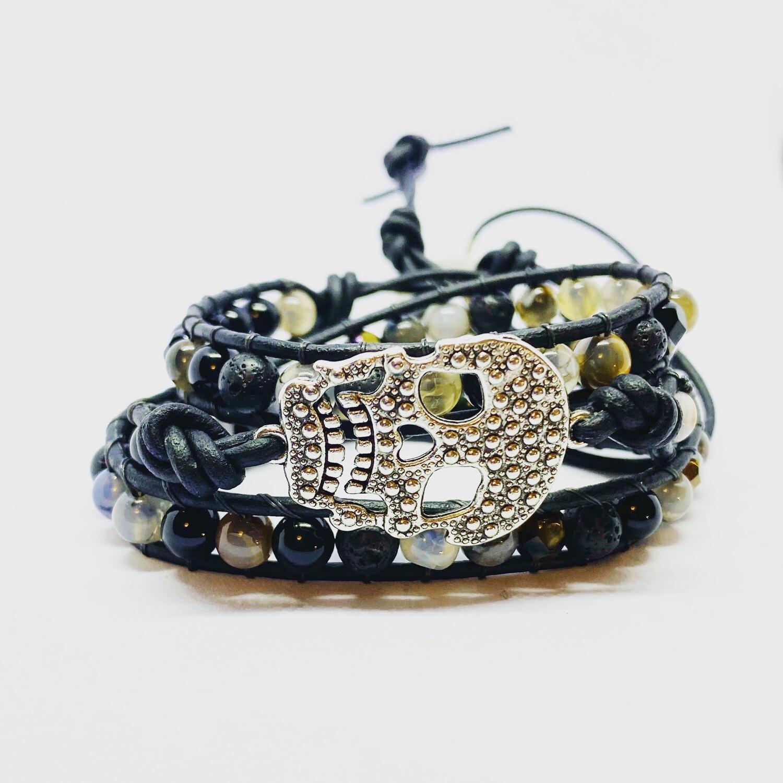 Black Obsidian, Snake Agate Skull Wrap Bracelet